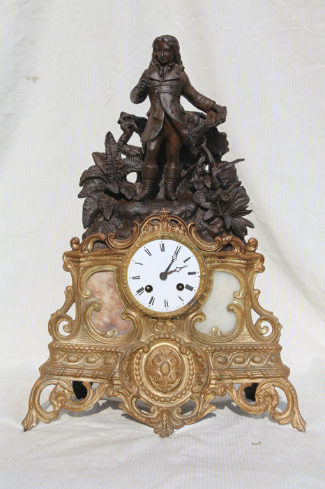 Antique gold-plated bronze and Zamak mantel clock - Japy Freres & Cie - Exposition 1855 Grade med. D'Honneur - 1855