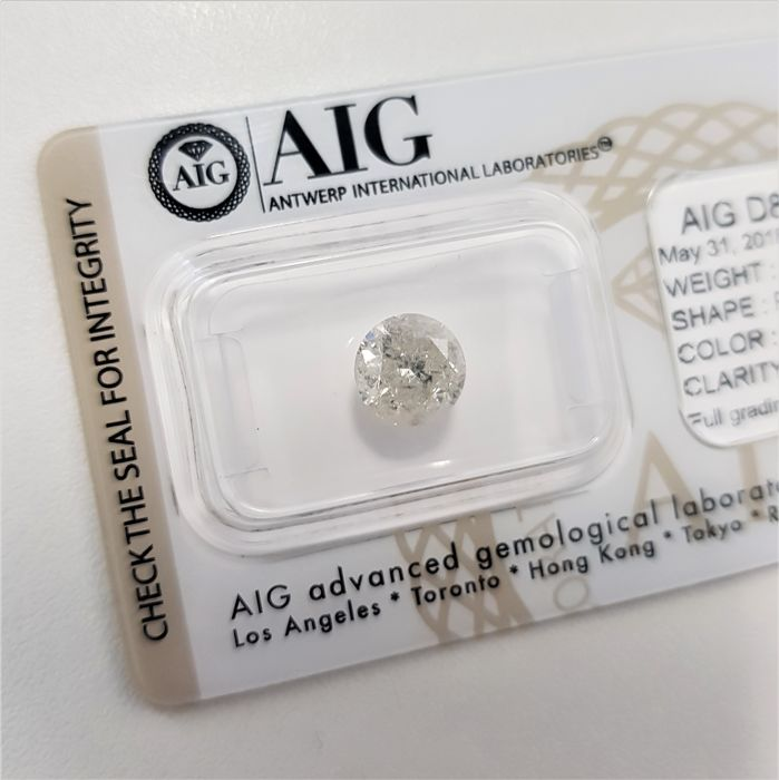 1.72 ct - Natural White Diamond - G Color - I2 - EX/EX/EX - NO RESERVE!