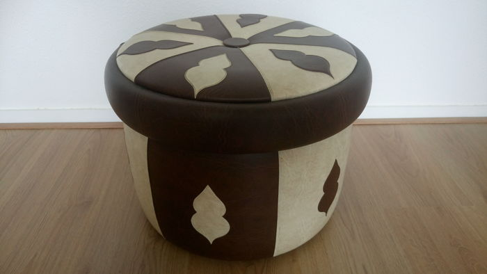 Wonderful (artificial) leather pouffe - 1960s - the Netherlands