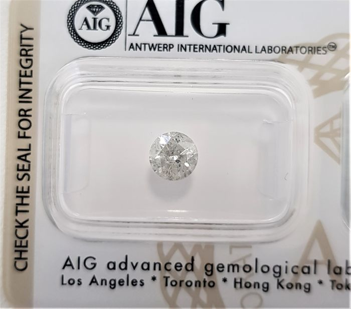 0.72 ct - Natural White Diamond - G Color - I2 - EX/EX/EX - NO RESERVE!