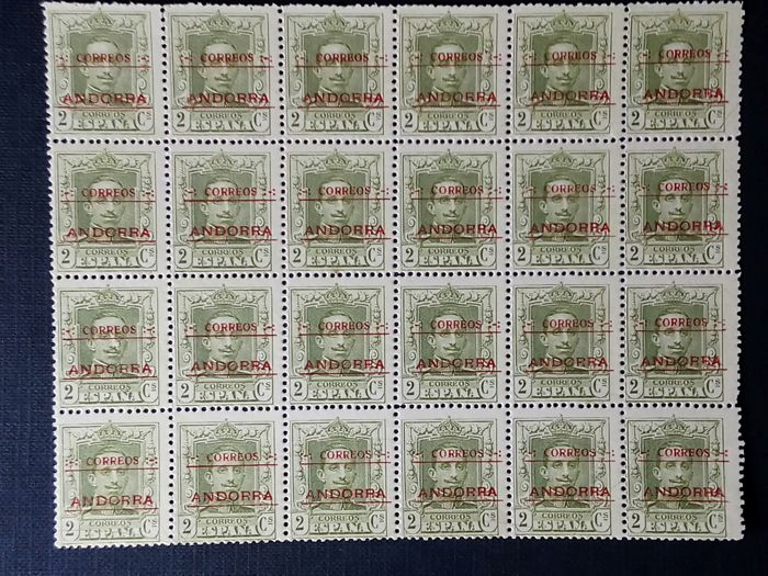 Spain 1928 - Spanish Andorra - Block of 24 stamps