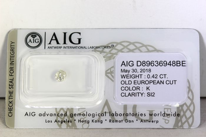 AIG Sealed Diamant - 0.42 ct - K, SI2