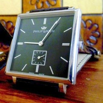 Philip Watch - Prelude Carrè Mechanical Black New Full Set NIB  - R8211192025 - Heren - 2011-heden