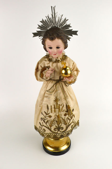Child Jesús of Prague - polychromed wood carving, dress, crown and Orb - 19th century