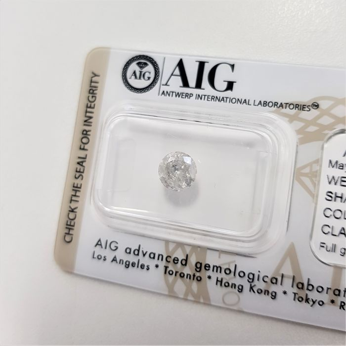 0.90 ct - Natural White Diamond - E Color - I2 - EX/EX/EX - NO RESERVE!