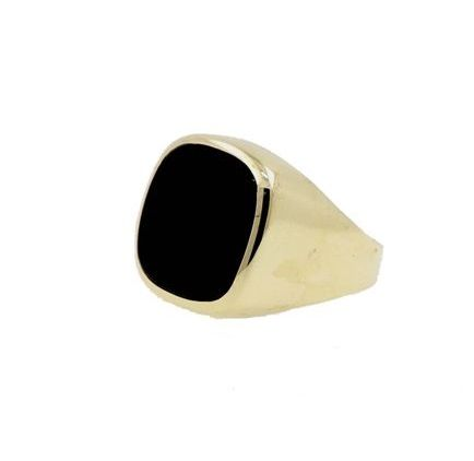 No reserve price!!! - 8 kt yellow gold men's ring with onyx - ring size 60 EU - free size adjustment