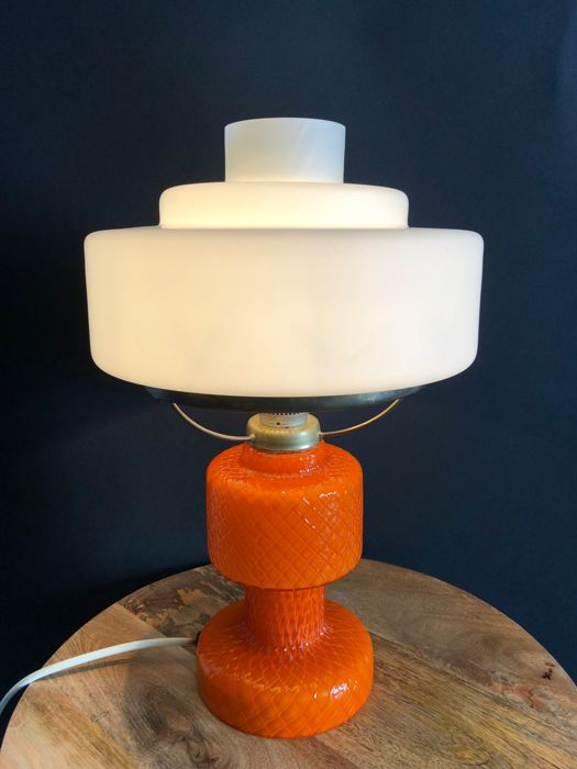 OPP Jihlava - Vintage glass table lamp in the form of an oil lamp