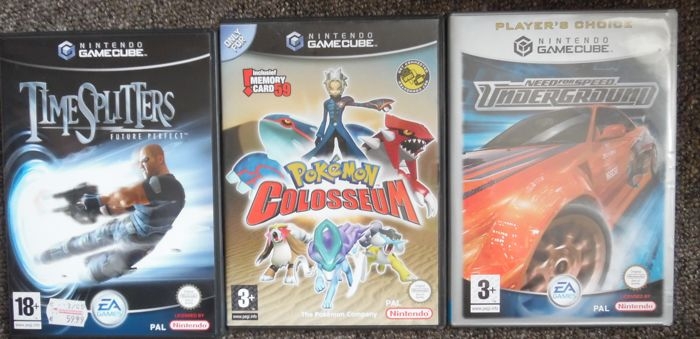 GameCube 3 topgames Pokemon Colosseum + Need for Speed + Time Splitters