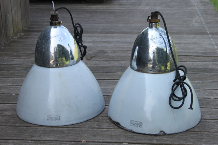 Philips - restored industrial lamps made of enamel and steel, ready for use
