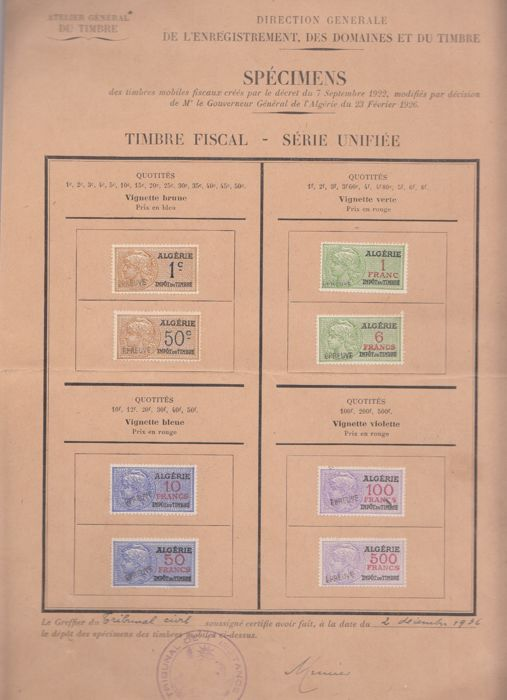 Algeria 1936 - Fiscaux, Document Specimen of the Stamp Workshop