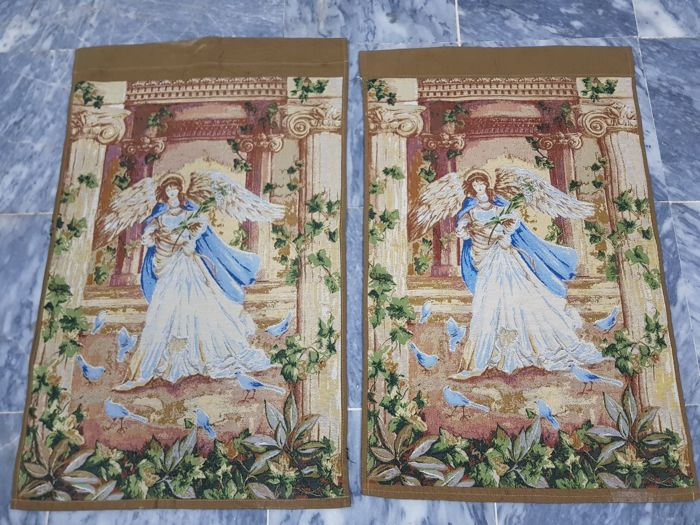 Pair Angel Vintage pictorial tapestry , France