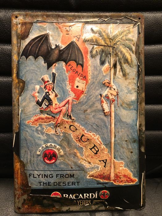 Very Rare Bacardi Ron Cuba- Flying from the desert - about 1970