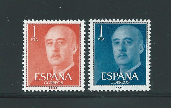 Spain 1955/1956 - Franco error de color 1 peseta - Edifil 1153cc