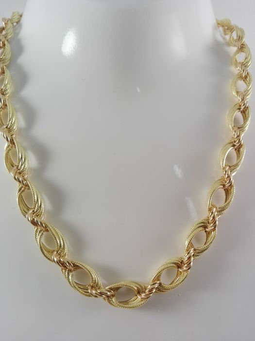 Women's necklace in 18 kt yellow and rose gold. Weight: 30.4 g