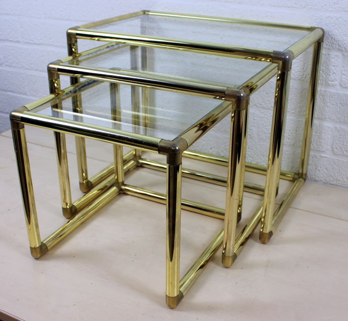 Designer three-piece set square coppered side tables with cut glass plate, 20th century, Italy