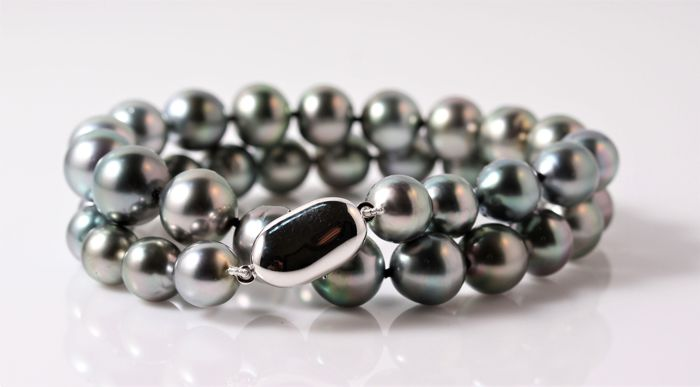 Double Row Lustrous Tahitian Pearl Bracelet 8.6x11mm - NO RESERVE PRICE