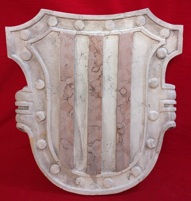 Botticino marble Venetian noble coat of arms with France Red Marble inlays - Italy, Venice - Early 20th century