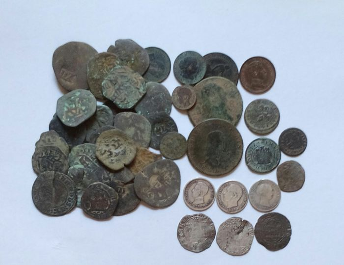 Spain - Lot of 41 Spanish coins from periods between 16th-19th centuries, from RRCC to Alfonso XIII, interesting