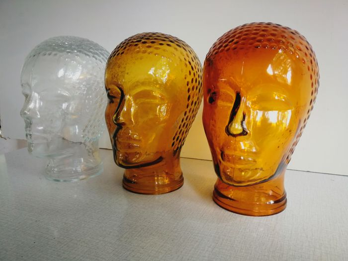 manufacturer unknown - 3 decorative glass heads