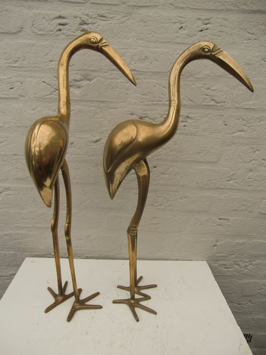Two handmade copper ibises, second half of the previous century, origin Netherlands