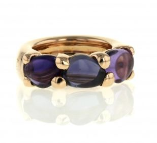 Pomellato - rose gold ring with amethyst and iolite