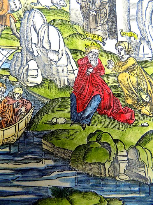 Gruninger Master: Large Incunabula woodcut - Dido and Anna Discuss Aeneas - 1529