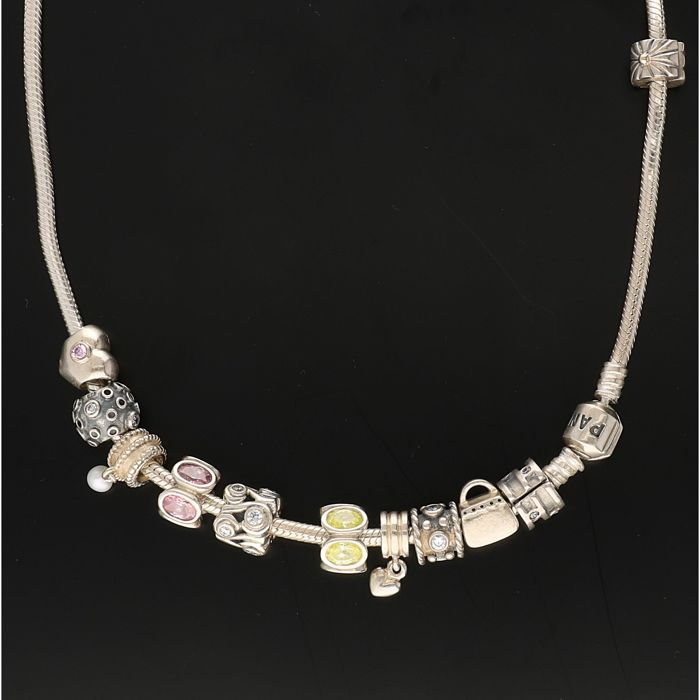 925 - Silver PANDORA necklace with 11 Pandora charms, consisting of 2 clips and 9 charms - Length: 45 cm