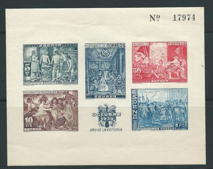 Spain 1939 - Hb Velazquez without noticing Beneficencia - Edifil 35