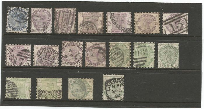 Great Britain 1883/1884 - Lilac and Green Set - Stanley Gibbons 187/196