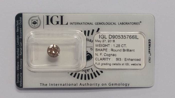 "1.25 ct  Diamonds Round  N.F. Cognac  SI3/Enhanced  IGL Lab (""IDEAL CUT"") - NO RESERVE"