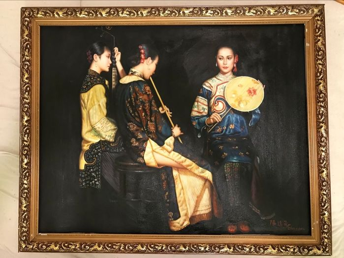 Oil painting, made after Chen Yi Fei  - China - late 20th