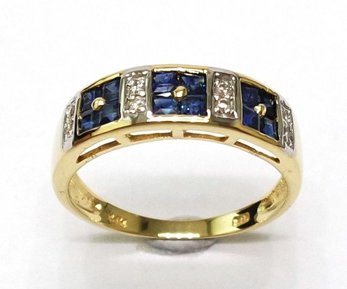 14CT Yellow Gold Square Cut Natural Sapphire & 0.056 ct Diamond Ring Size N 1/2