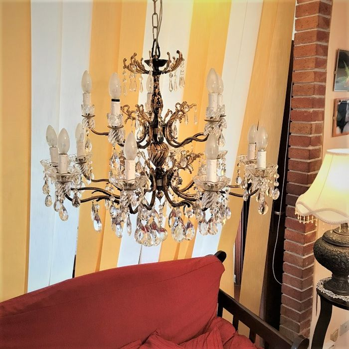Chandelier with pure gold leaf applications - restored - 20th century
