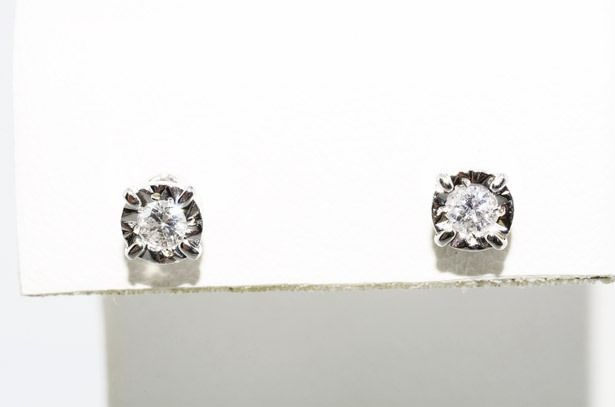 10 kt white gold earrings with diamonds of 0.20 ct *** NO RESERVE PRICE ***