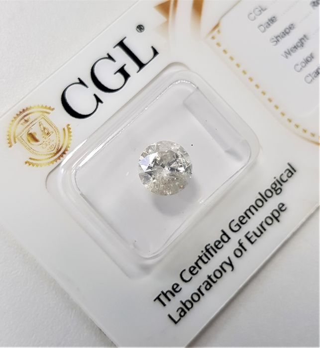 1.61 ct - Natural White Diamond - G Color - I1 - VG/EX/VG - NO RESERVE!