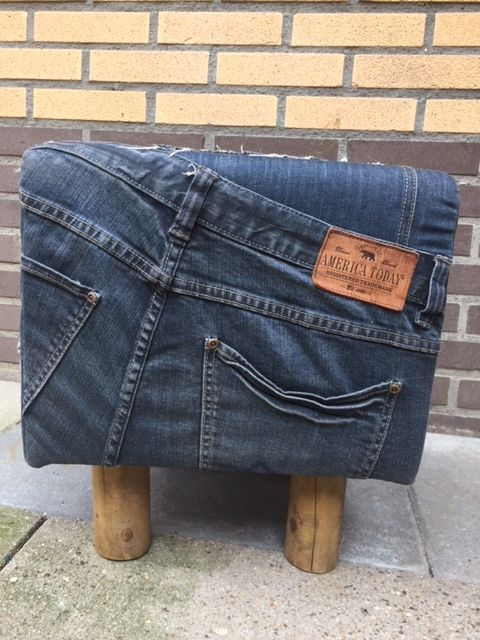 Stool upholstered with jeans - design - Belgium