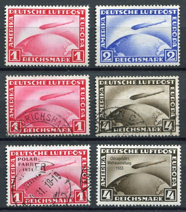 German Empire 1928/1933 - Selection Airmail Zeppelin