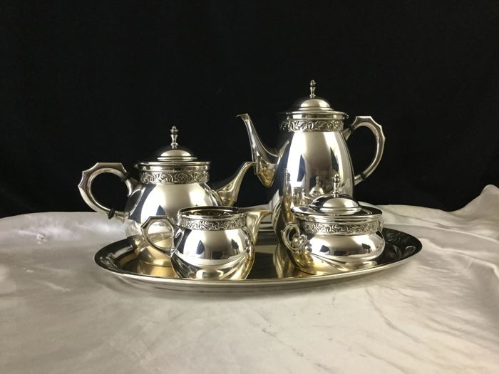 WMF - Complete Art Nouveau tea and coffee set in silver plated metal