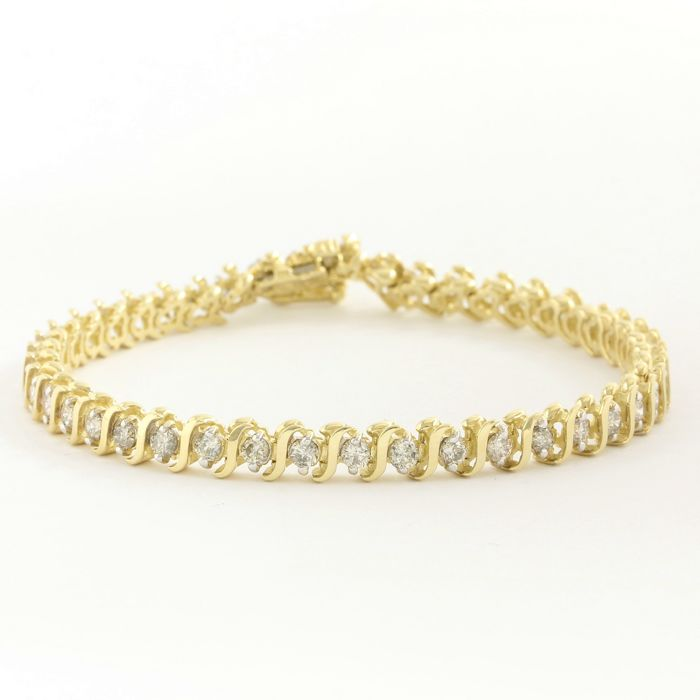14kt Yellow Gold Tennis Bracelet with 3.00ct I, SI2 Diamond - 18.5 cm