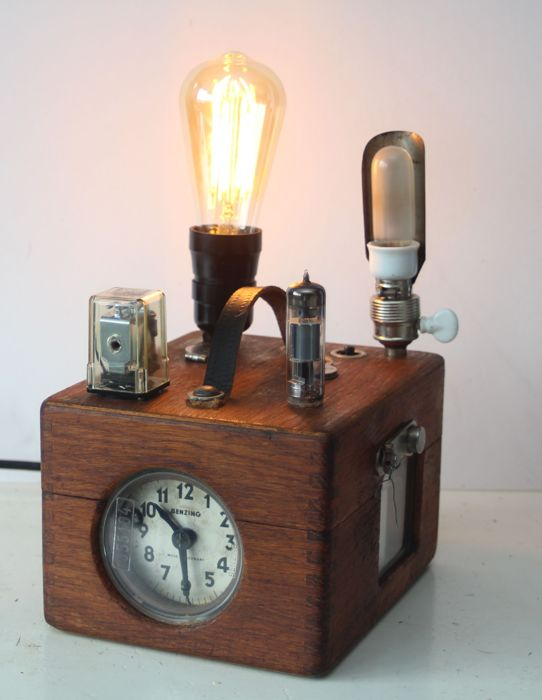 Industrial lamp made from an antique pigeon clock Benzing with radio tubes
