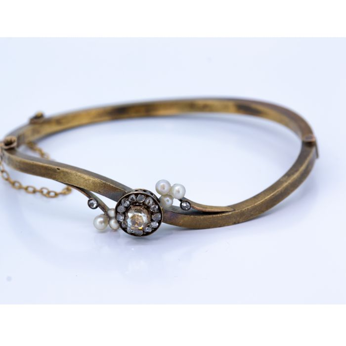 Vintage bracelet 19th century gold with diamonds and pearls - 6.4 cm diameter