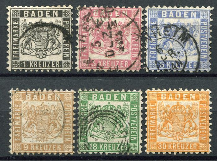 Baden 1862 - Coat of arms (white background) - Michel 17/22