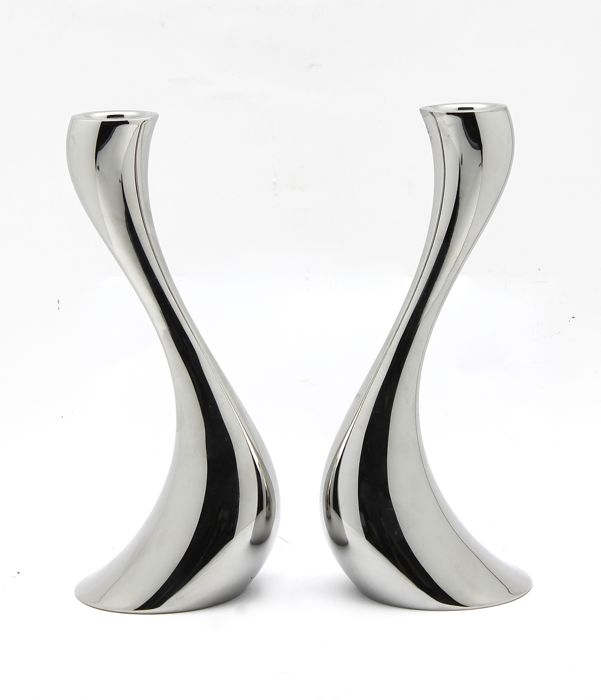 Constantin Wortmann for Georg Jensen - Two large 'Cobra' candlesticks - marked