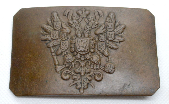 Russia, Empire - WW1 Military Buckle with Eagle - copper