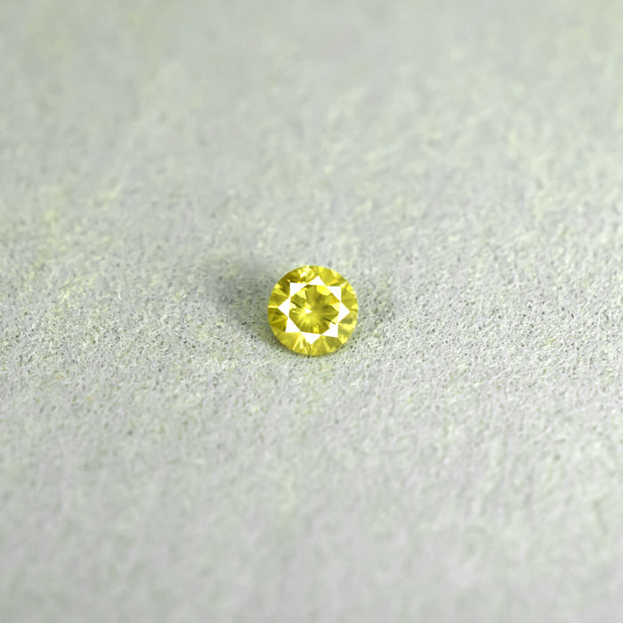 Intense Yellow Diamond - 0.16 ct, Excellent Cut - NO RESERVE PRICE
