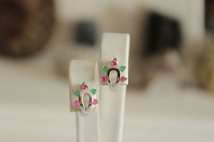 White gold earrings with natural emeralds and rubies - Length: 1.2 cm