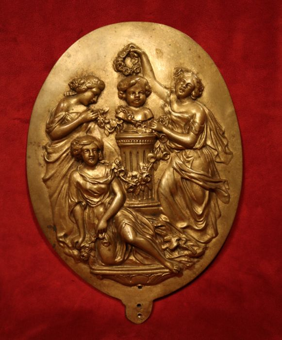 Antique bronze relief plaquette - France - end of 19th century