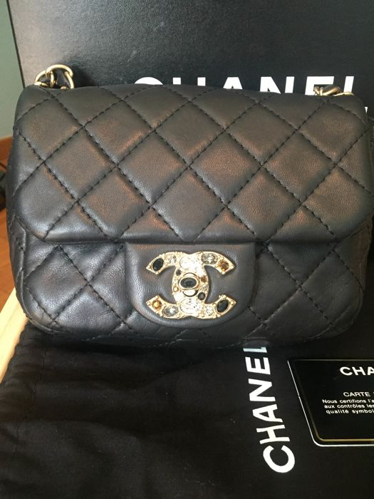 Chanel Black Mini Crystal Lock Quilted Leather Flap Bag