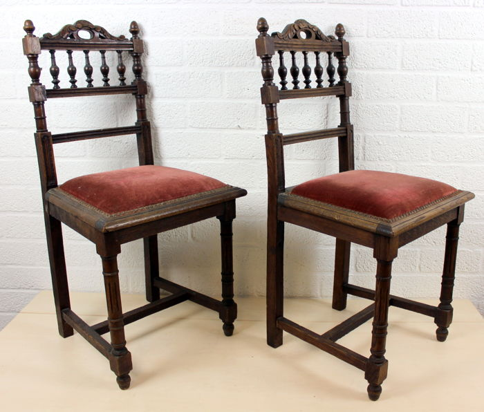 Pair of antique oak chairs with fabric upholstery - France - 1st half 20th  century - Pair Of Antique Oak Chairs With Fabric Upholstery - France - 1st