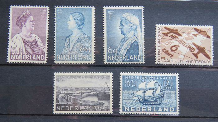 Netherlands 1934/1935 - Selection series - NVPH 265/266, 267/268, 269, 278